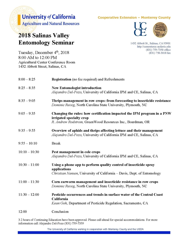 Entomology Seminar 2018 AGENDA vFIN revised
