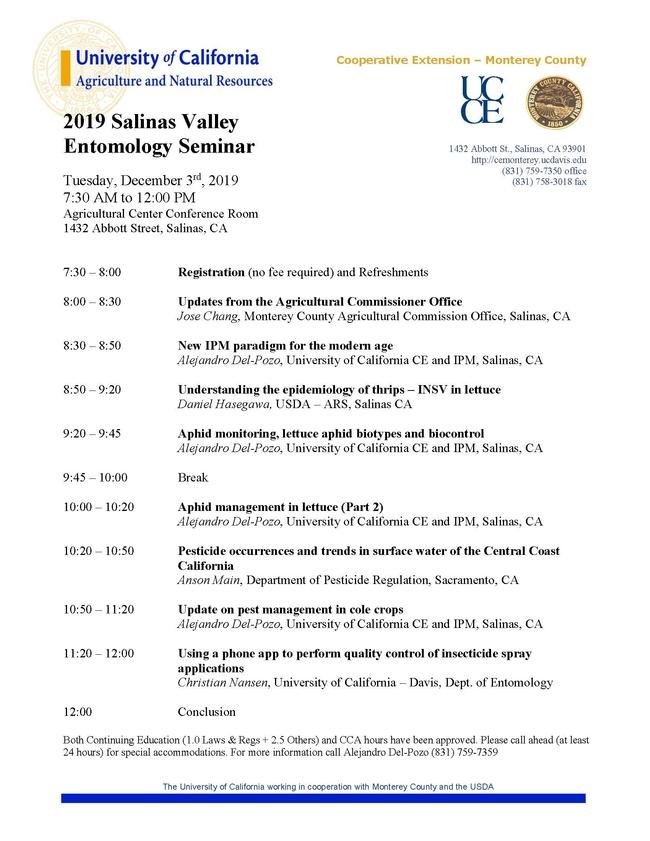Entomology Seminar 2019 AGENDA vFIN