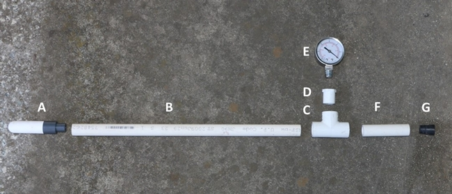 "Fig. 2. Components needed to build a tensiometer: a. ceramic cup, b. and f. ½ inch PVC pipe for shafts, c. PVC ""T"", d. ½"" male slip x ¼ "" female thread bushing, e. vacuum gauge, and g. rubber stopper."