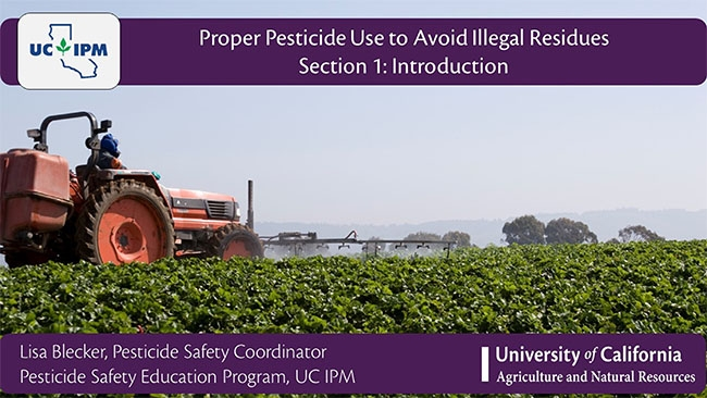 Title screen for Proper Pesticide Use online course