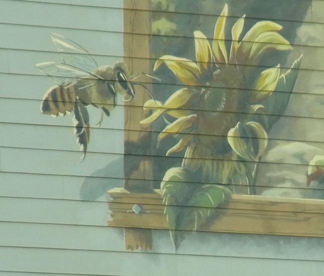 Bee detail on the warehouse mural
