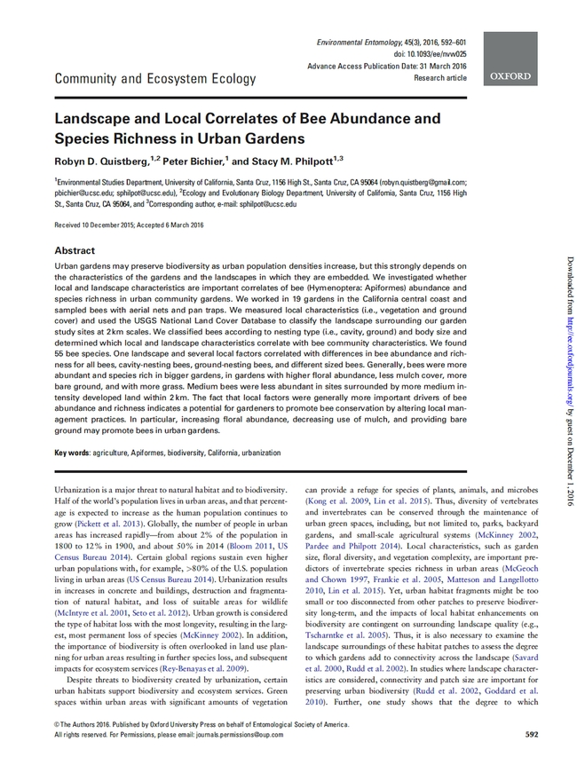Paper on bee/mulch relationship in gardens
