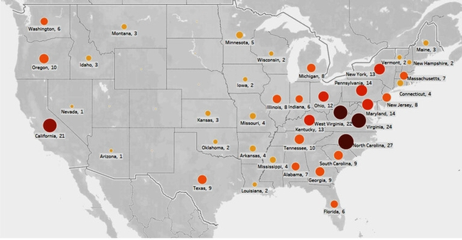 tree feling map showing fatalities