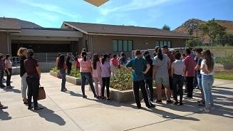 Loma Vista garden club students listening to instructions