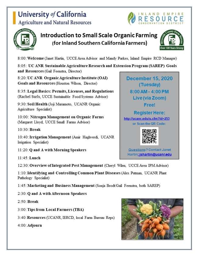 Introduction to Small Scale Organic Farming Dec. 15 2020