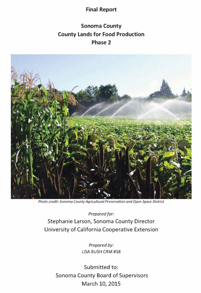 County Lands for Food Production report cover