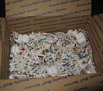 Carton in box with shredded paper, newspaper and bubble wrap also work.