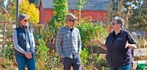 (l-r) Regent Stegura and Michael Bedard talk with Glenda Humiston at Bayer Farm Park & Gardens for UCCE Sonoma Blog