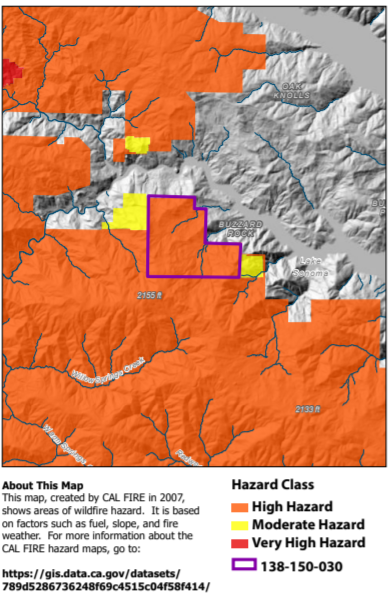 Example map from the Wildfire Fuel Mapper map report depicting CAL FIRE Fire Hazard levels