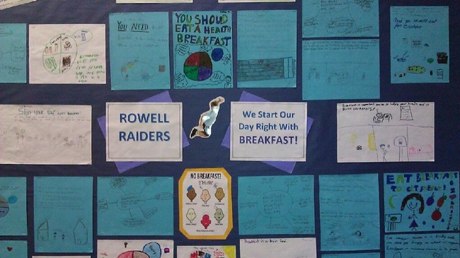 Students' work featured in Rowell Elementary's nutrition corner