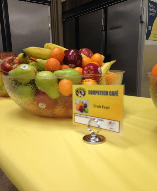 After: adding mixed fruit to the bowls in the serving line vs. serving one type of fruit in separate bowls creates a visually appealing display and takes only a few extra minutes. This change demonstrates one of the best parts of Smarter Lunchrooms: low to no-cost changes that can make a big difference!