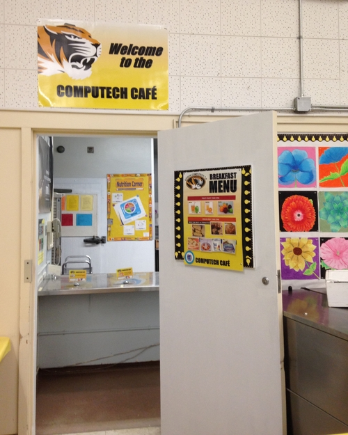 After: branding the cafeteria as the Computech Cafe was great! Students really liked seeing their mascot and school colors on all of the new signage.