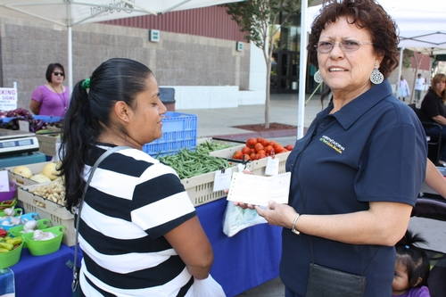 This shopper appreciates that WIC vouchers and Senior Discount coupons are accepted at farmers markets year round to help families eat healthy.