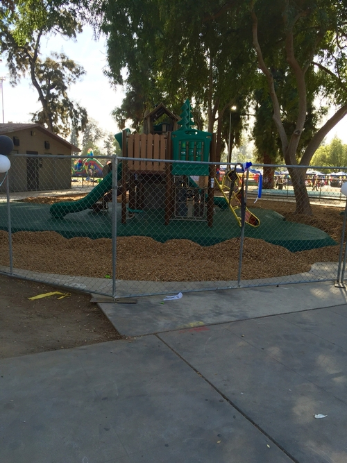 One of the new play structures at Holmes Playground.