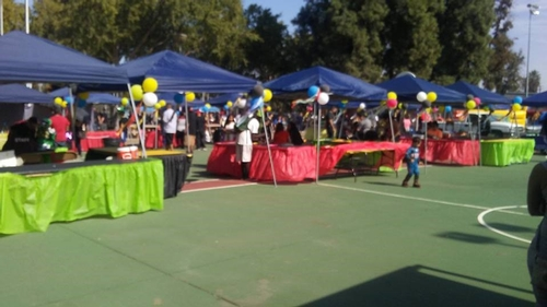 Some of the booths and games at the event.