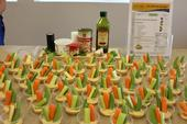 A display was prepared of the vegggie and hummus recipe. A few ingredients come together to make an easy and delicious snack