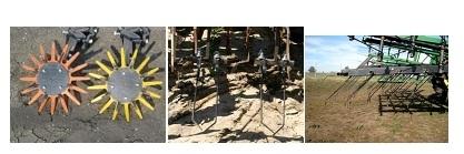 Blind cultivation weeders: Finger weeders--left, torsion weeders--middle and spring tine weeder–-right