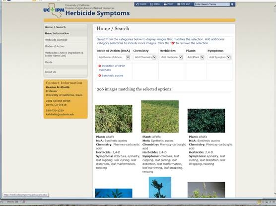 UCIPM herbicide symptomology website screenshot
