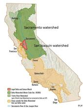 """Figure 1. Study area in California's Central Valley. (Modified from Maven's Notebook, """"Where Delta Water Comes from and Goes"""")"""