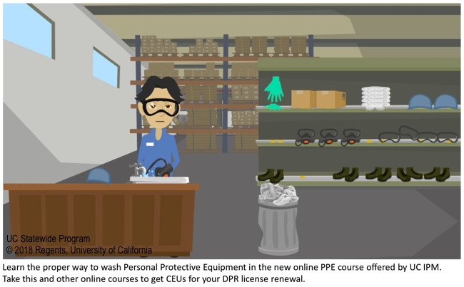 Screen shot from UC IPM online PPE course, washing personal protective equipment.