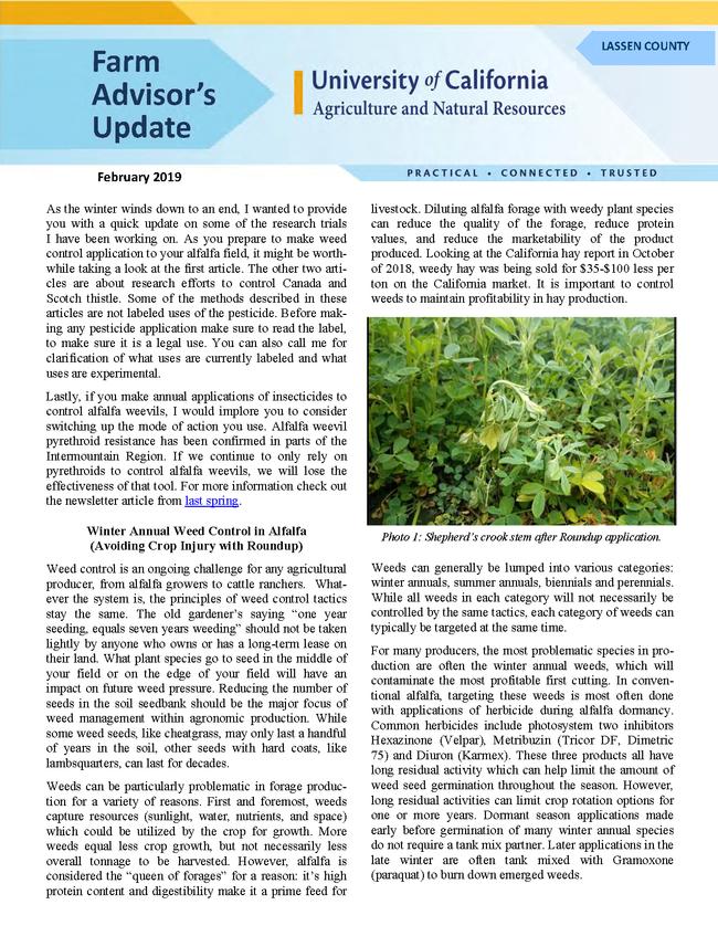 Farm Advisors Update 2019-Feb