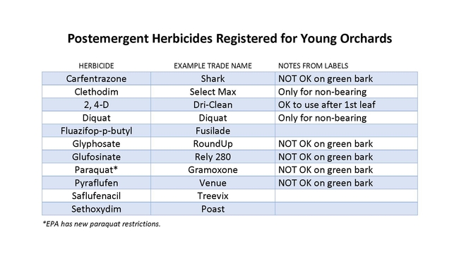 Postemergent herbicides registered for young orchards