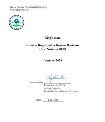 USEPA glyphosate rereg decision Jan2020