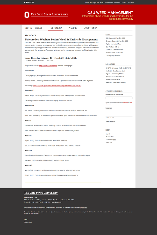 Take Actions Webinar Series