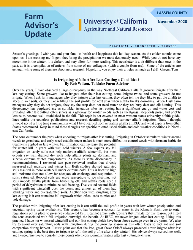 Lassen County Farm Advisors Update newsletter