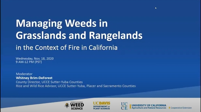 Managing Weeds in Grasslands and Rangelandsin the Context of Fire in California