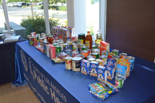 Attendees donated non-perishable food items to the interfaith food center pantry