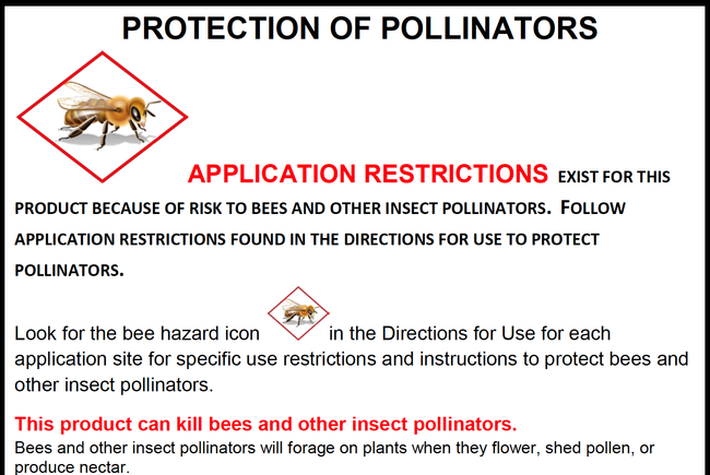 Figure 2. Part of a new graphic the EPA will require on most neonicotinoid insecticide product labels that have directions for outdoor use.