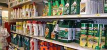 A retail shelf showing various pesticide containers. (Credit: Cheryl A. Reynolds) for Pests in the Urban Landscape Blog