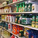 A retail shelf showing various pesticide containers. (Credit: Cheryl A. Reynolds)