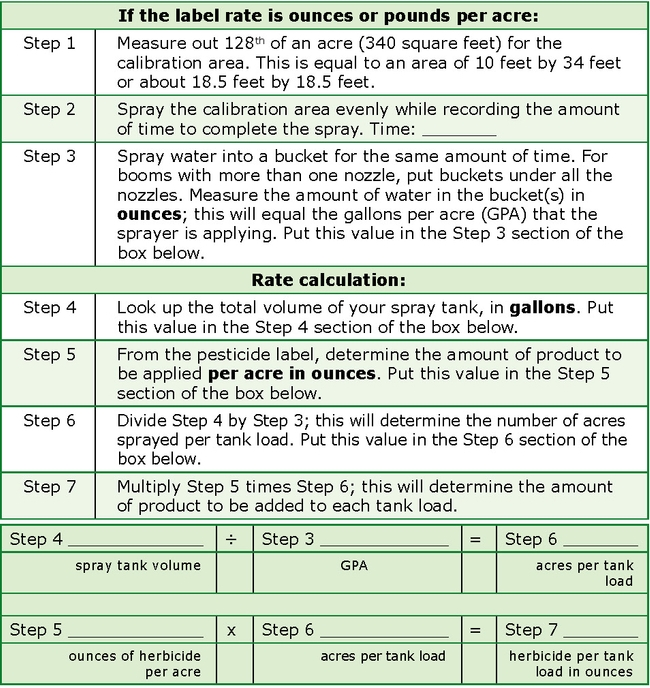 Table 1. Easy 128th Acre Broadcast Sprayer Calibration for Backpack and Large Tank Sprayers