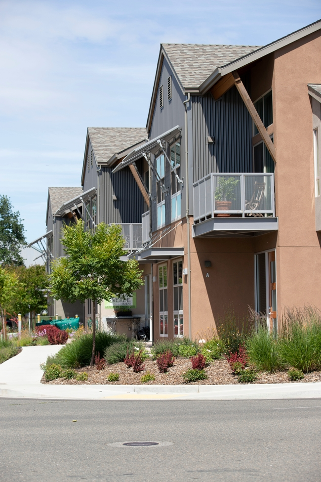 Townhouses with landscaping.