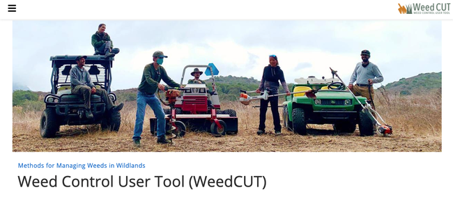 Santa Monica Mountains BAR team holding tools to manage invasive weeds using non-chemical approaches.