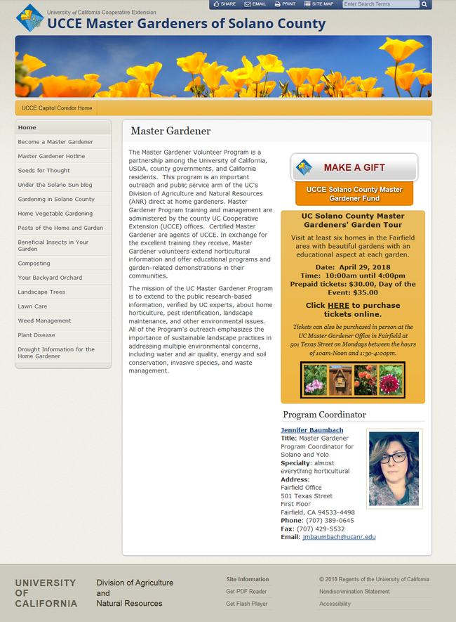 Screenshot of the UCCE MG website. (photo by Kathy Low)