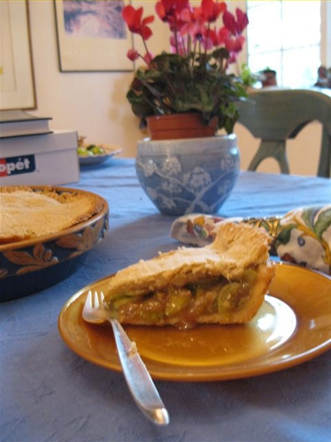 green tomato pie on a plate