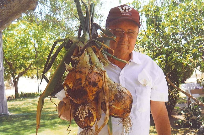 large onion with it's grower
