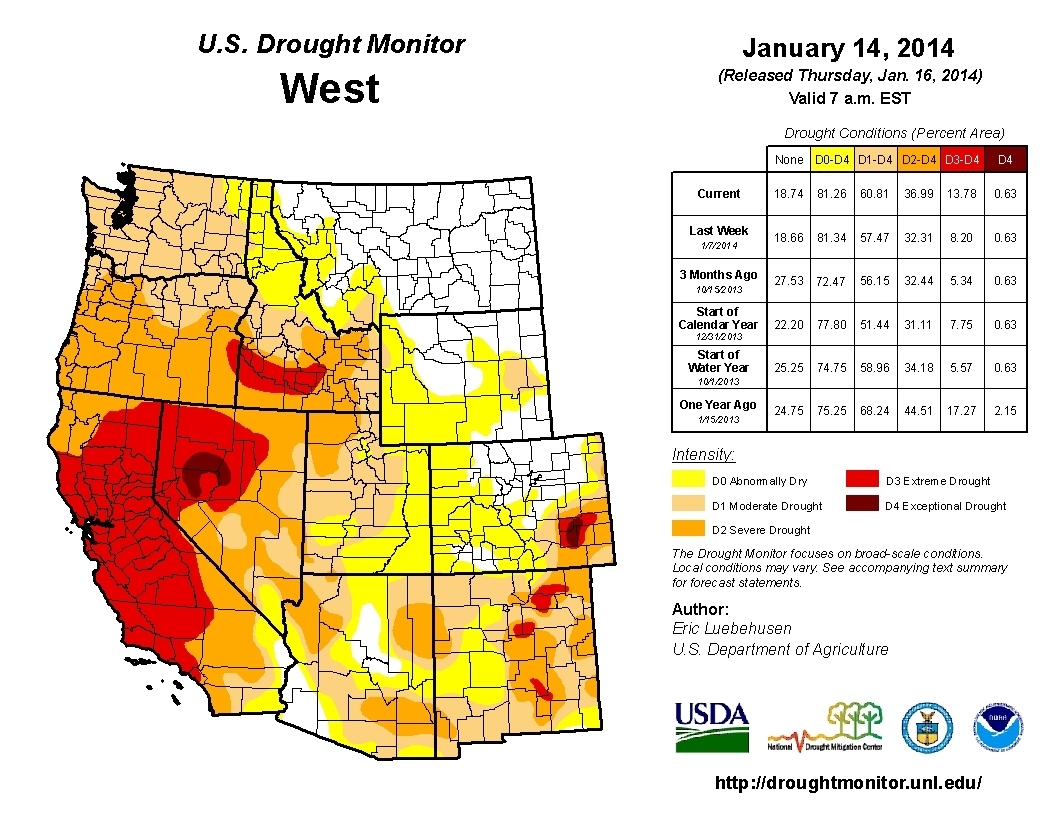 Californias Drought Is Shaping Up To Have Large Impacts On - Us drought map california