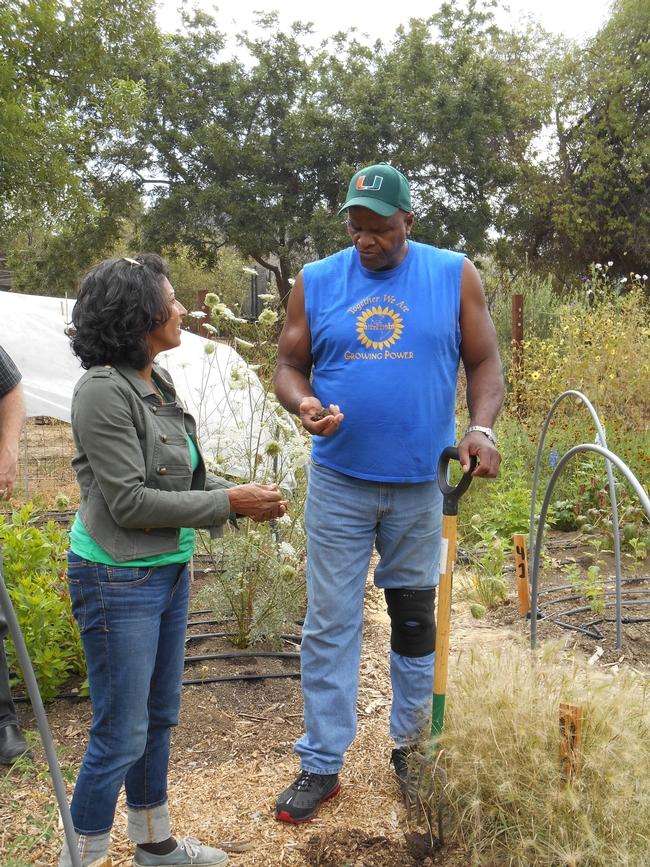Will Allen habla con la granjera Tara Kolla, sobre la importancia de enriquecer la tierra.