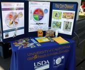 CalFresh de la UC muestra ejemplos de alimentos saludables en los platos.