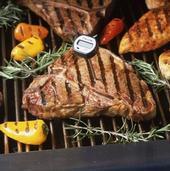 Revise los alimentos con un termómetro para asegurarse que están bien cocidos.
