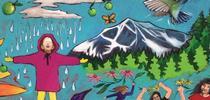 Los murales en las escuelas refuerzan visualmente el mensaje sobre un estilo de vida saludable. Este mural se encuentra en la primaria Sierra House en Lake Tahoe. for Blog de Alimentos Blog