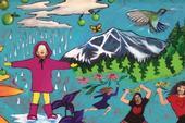 Los murales en las escuelas refuerzan visualmente el mensaje sobre un estilo de vida saludable. Este mural se encuentra en la primaria Sierra House en Lake Tahoe.