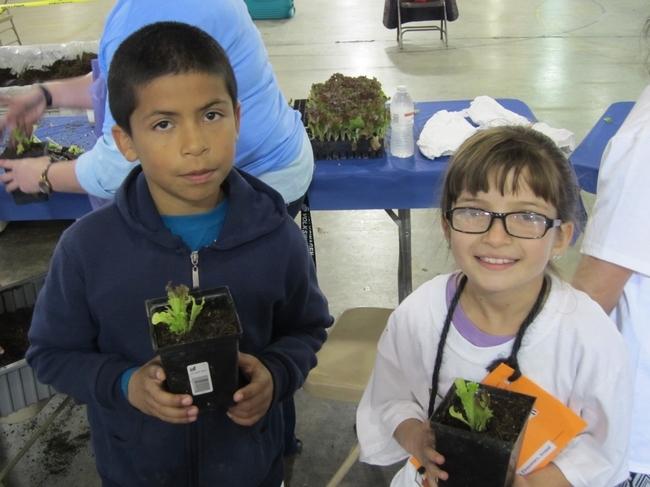 Con los semilleros de lechuga en mano, los felices jardineros se preparaban para continuar con el aprendizaje en casa.