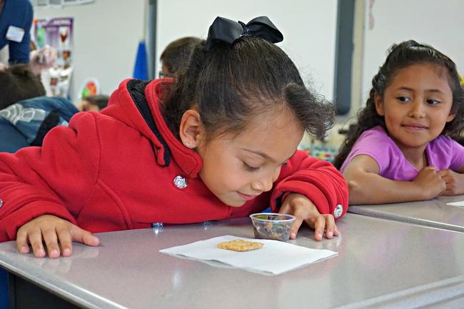 Una estudiante huele la ensalada antes de probarla.
