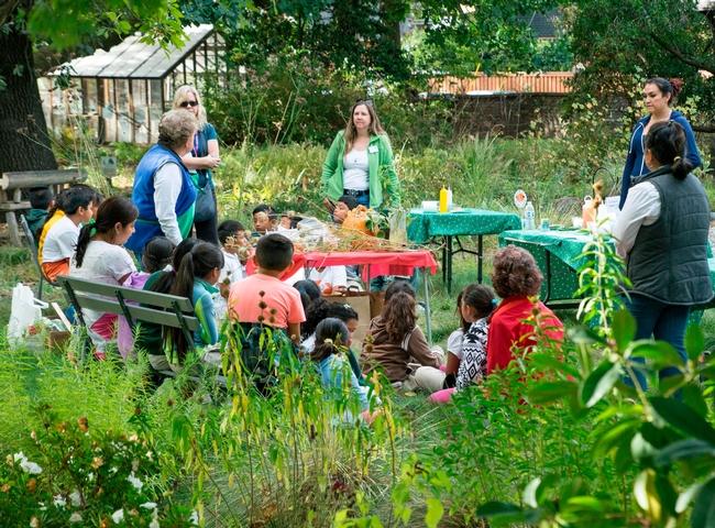 Los estudiantes aprenden sobre propagación en el programa de huertos escolares de Excávalo, cultívalo y cómelo del condado de San Marín.