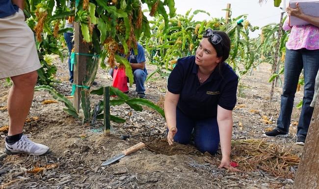 Namh Quinn, asesora de interacción entre la vida urbana y silvestre de UCCE, hace una demostración sobre técnicas de control de taltuzas.